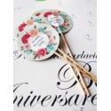 """Topper Candy Bar 5cm """"Happy wedding day"""" roz-albastru"""