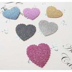 Set 30 Inima M2 decupate carton cu sclipici, culori mixt