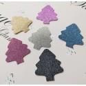 Set 30 brad cu trunchi decupate carton cu sclipici, culori mixt