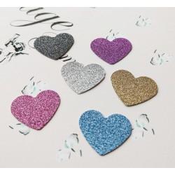 Set 30 baloane inima, carton cu sclipici, culori mixt