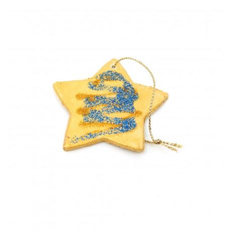 Ornamente Brad Ceramica Stea Auriu cu Sclipici Albastru
