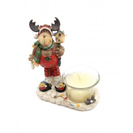 Figurina ren, din ceramica, cu lumanare,14x14cm