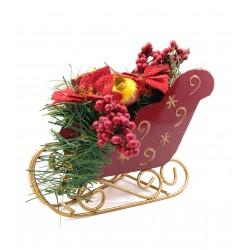 Decoratiune sanie cu flori artificiale, 22cmx15cm