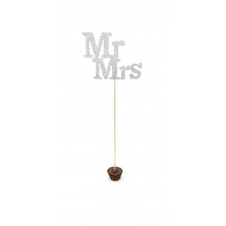 Topper tort nunta Mr&Mrs argintiu