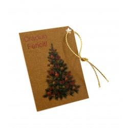 Set 10 etichete carton perlat, natur, cu brad