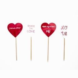 Set 20  de toppere inima rosie si alba, Valentine's Day