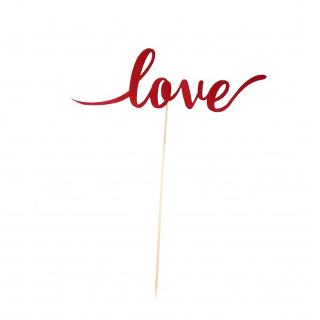 Topper text Love, din carton, taiat pe contur